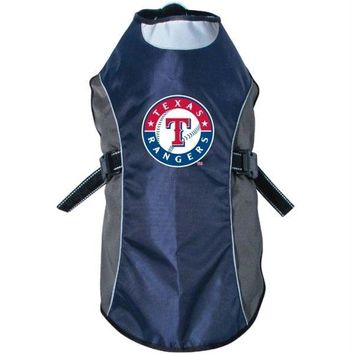 Texas Rangers Water Resistant Reflective Pet Jacket