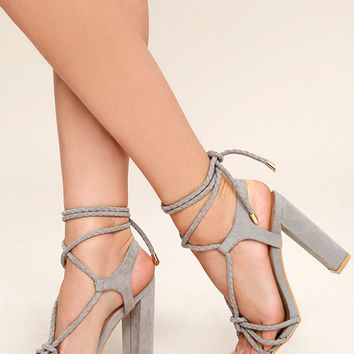 Ophelia Grey Suede Lace-Up Heels