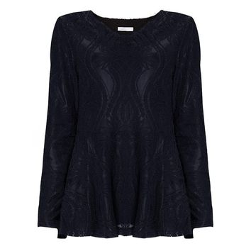 Plus Size Women Elegant Black Lace Velvet Lining V-Neck Blouse 2017 Winter