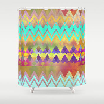 Lacy Camping Dreams  Shower Curtain by Gréta Thórsdóttir #ethnic #tribal #folklore #ombre #zigzag #lace #mint