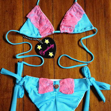 Turquoise Gingham Bikini Coral Ruffle Lace with Back Bow