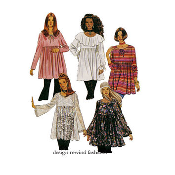 BOHO BLOUSE PATTERN Empire Waist Top Patterns Peasant Blouse Pattern McCalls 6814 1990s Women's Sewing Patterns Bust 29.5 30.5 31.5
