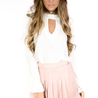 London Eye Blush Faux Suede Skirt