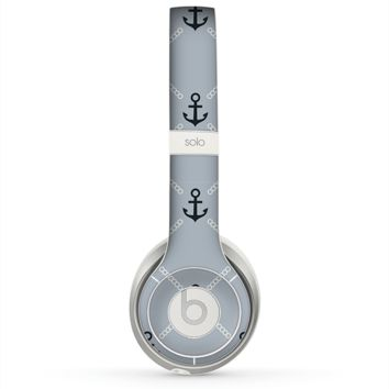 The Navy & Gray Vintage Solid Color Anchor Linked copy Skin for the Beats by Dre Solo 2 Headphones