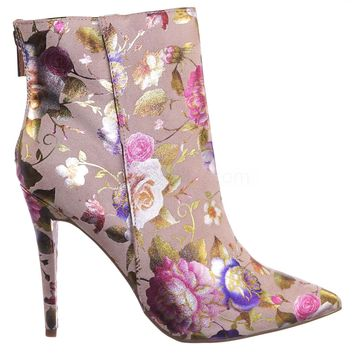 Dedicate06 Faux Fur Floral Print Ankle Bootie - Women Pointed Toe High Heel