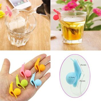 Day-First™ 5pcs Cute Snail Shape Silicone Tea Bag Holder Cup Mug Candy Colors Gift Set New Color Random Sent = 1958512388