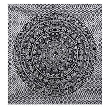 Handicrunch Elephant Mandala Tapestry, Hippie Tapestries, Wall Tapestries, Tapestry Wall Hanging, Indian Tapestry, Bohemian Bedding Psychedelic tapestry Size 95 x 85 Inch's