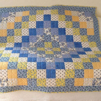 Blue Yellow Trip Around The World, Cottage Chic, Shabby Chic, Handmade Lap Quilt, Throw 54 x 54 inches Free Shipping Canada and USA