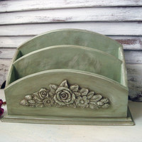 Cottage Chic Distressed Green Mail Holder with Floral Detail, Shabby Chic Mail Organizer, Home or Office, Up Cycled