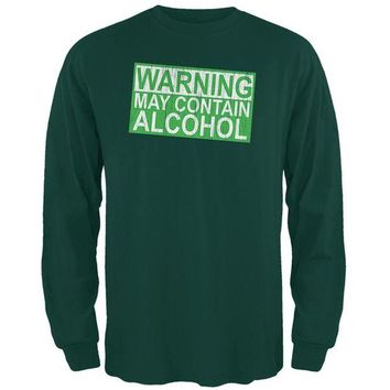 DCCKIS3 St Patrick's Day Warning May Contain Alcohol Mens Long Sleeve T Shirt
