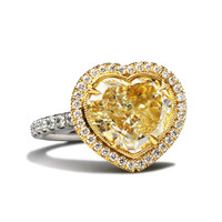 3.40 Carat Heart Shaped GIA Cert Diamond Gold Ring