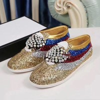 ONETOW GUCCI 2017 new female sparkling diamonds, rainbow casual shoes
