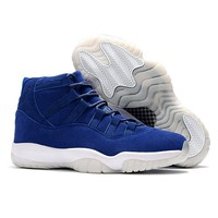 ca auguau New Arrival Jordan Retro 11 XI Men Basketball shoes Navy suede Breathable Athletic Outdoor Sport Sneakers EUR SIZE 40-46