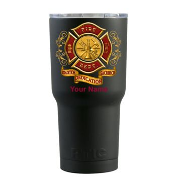 RTIC 20oz Red Gold Fire Department Badge on Black Matte Tumbler