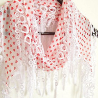 Hearts scarves  chiffon scarves heart scarf red heart scarf fringed scarf white scarf  Guipure Scarf ..lace scarves