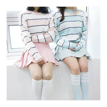 Female Korean Harajuku Clothing For Women Winter Loose Fight Color Stripes Wild Girlfriend Sweater Women's Jumper Kawaii Ulzzang