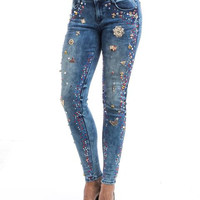 Mixed Shaped Colored Diamond Rhinestone Blur Ripped Jeans SP1008
