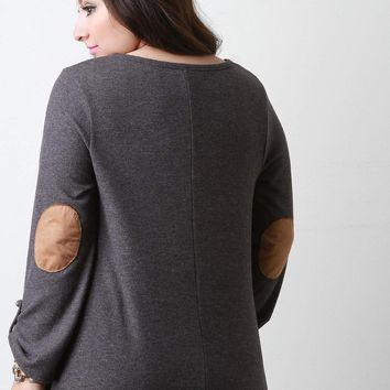 Loose Side Slit Elbow Patch Sweater