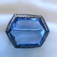 Art Deco Brooch Blue Glass 1920s Vintage Jewelry ETSY SALE