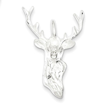 925 Sterling Silver Bust Buck Head Charm Pendant - 33mm