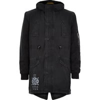 River Island Boys black cotton coated parka coat