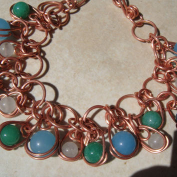 Copper wire wrapped Dangle Gypsy Bracelet by ADragonflysFancy