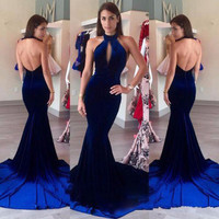 Velvet Evening Prom Dresses 2017 Halter Keyhole Front Sexy Royal Blue Mermaid Prom Formal Long Party Gowns vestido longo