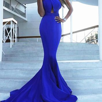 New Blue Draped Cross Back Cut Out Backless V-neck Sleeveless Elegant Maxi Dress