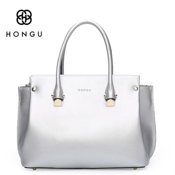 HONGU Women HandBags Totes Fashion Macaron Saffiano Bags Genuine Cow Leather Handbag bolsa Lady Female Handbag Zipper Hand Bag