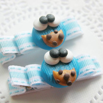 Girls Hair Accessories Cookie Monster Hair Clips Hair Bows Baby Bows for Babies Girls Teens and Adults Kawaii Fashion
