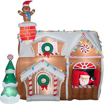 9ft Inflatable Animated Gingerbread House Christmas Outdoor Decoration Yard Lawn