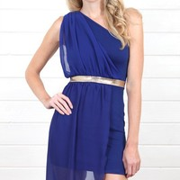 D3123 Royal Blue Chain Waist One Shoulder Dress and Shop Apparel at MakeMeChic.com