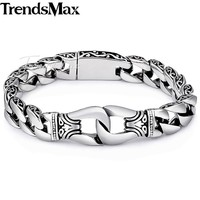 Trendsmax Mens Bracelet 316L Stainless Steel Biker Jewelry Vintage Totem Curved Edging Curb Cuban Link Chain HB10