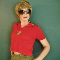 Vintage Crop Top - 80s Red Upcycled Polo - Belly Shirt