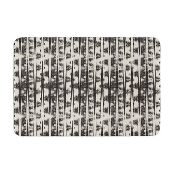 "Amanda Lane ""Black Cream Abstract"" Memory Foam Bath Mat"