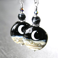 Crescent Moon Earrings Sterling Silver Hook Black White Artisan Handmade Glass Moon Lampwork Earrings Celestial Jewelry Night Sky