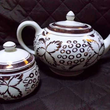 Hand-Painted Gray's Pottery Tea Pot Sugar Bowl Copper Lustre Grapes Leaves