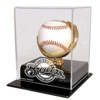 Milwaukee Brewers MLB Single Baseball Gold Glove Display