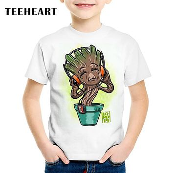 TEEHEART Guardians of the Galaxy 2 Boys/girls' T-shirt Anime Funny Pop Baby Groot Summer Kids T Shirt Children Clothing TA642