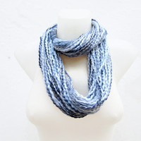 Scarf infinity Blue White Darkblue  Necklace Colorful  Long  winter  Accessories