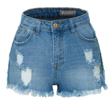 LE3NO Womens Stretchy High Rise Distressed Frayed Hem Denim Shorts