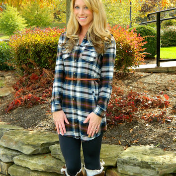 You Got It Plaid Dress Navy