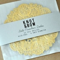 Gold Foil Medallion Doilies by knotandbow on Etsy