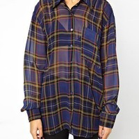 Glamorous Oversized Shirt In Tartan at asos.com