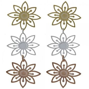 Gold Layered 074.002 Long Earring, Flower Design, Diamond Cutting Finish, Tri Tone