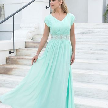 Cecelle 2017 Mint Long Modest Bridesmaid Dresses Long Floor With Cap Sleeves Beaded Ruched V neck Formal Wedding Party Dresses