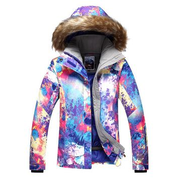 2017 New female violet ski jacket women colorful riding snowboarding skiing jackets waterproof windproof thermal anorak skiwear