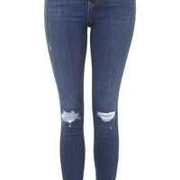 MOTO Mid Blue Ripped Jamie Jeans - Mid Stone