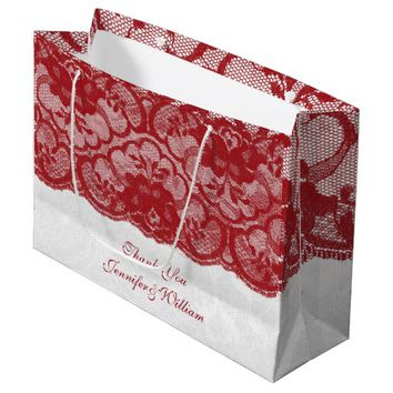 Personalized Royal Wedding Gold Red Lace Large Gift Bag