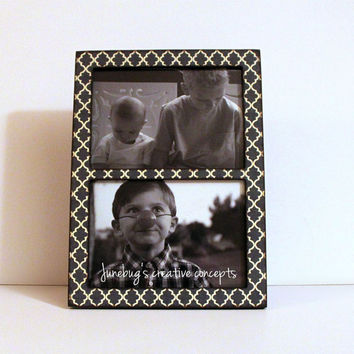 Double 4x6 or 5x7 2 Photo Frame Navy Quatrefoil Trellis
